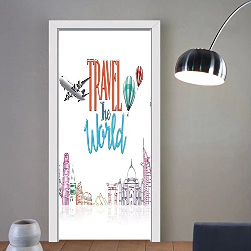 Gzhihine custom made 3d door stickers Quote Decor Travel The World Lettering with Around World Landmarks Balloons Artwork Image Multicolor For Room Decor 30x79 by Gzhihine