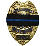 IM Survival Thin Blue Line Mourning Band Stripe Black Police Officer Badge Shield Funeral Honor Guard Strap 1/2'' - 2 Pack