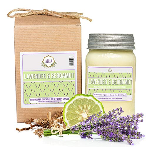 Aira Soy Candles - Organic, Kosher, Vegan, in Mason Jar w/Therapeutic Grade Essential Oil Blends - Hand-Poured 100% Soy Candle Wax - Paraffin Free, Burns 110+ Hours - Lavender & Bergamot -16 Ounces