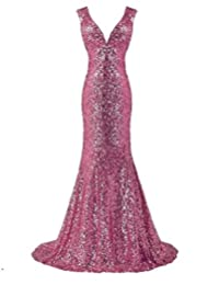 ThaliaDress Sequin Glitter V Neck Long Bridesmaid Dresses Wedding Party Gown