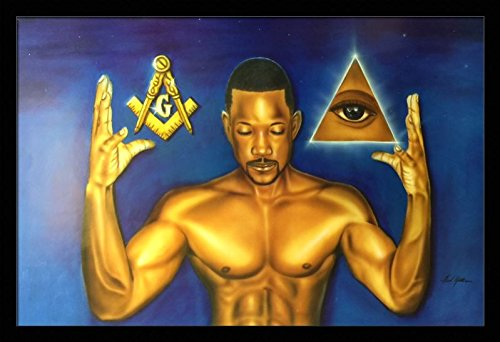 Masonic Thoughts - Fred Mathews 24x36 Black Framed - African American Black Art Print Wall Decor Poster