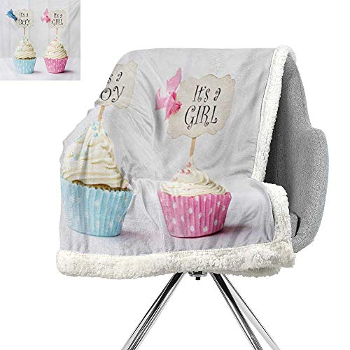 Gender Reveal Lightweight Microfiber Blankets,Boy and Girl with Cupcakes Yummy Chocolate Celebration Theme,Pale Blue and Pink Cream,Cozy,All-Season Berber Fleece Throw Blanket W59xL31.5 Inch