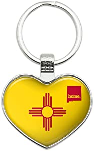 New Mexico NM Home State Flag Officially Licensed Keychain Heart Love Metal Key Chain Ring