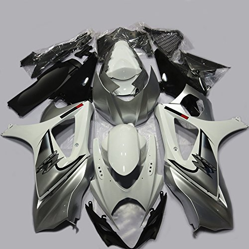 One Industries Suzuki Graphics (ABS Injection Molding - White & Silver Painted With Graphic Fairing Kit for SUZUKI GSXR 1000 K7 (2007-2008))