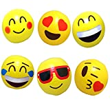 "12 Emoji Beach Balls Inflatable 12"" with Air Pump - Pool Birthday Party Toys"
