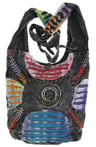 Bohemian Embroidered Ripped Razor Cut Sling Purse Handbag AND Backpack ()