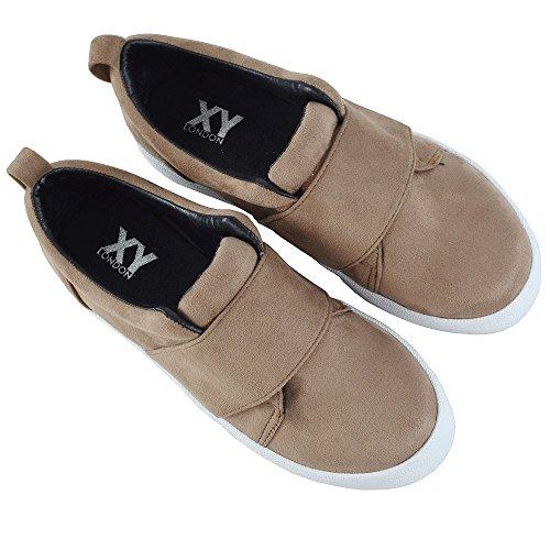 Sneakers Donna Fashion Essex Glam Slip Slip On Flat Elasticizzato Casual Scarpe Comode Taupe In Finta Pelle Scamosciata