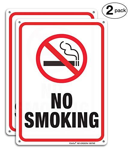 (No Smoking Sign,2 Pack No Smoking Metal Reflective Signs - 10