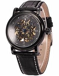 KS Mens Royal Carving Clover Black Automatic Mechanical Skeleton Leather Wrist Watch KS119