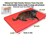 Home-made Waterproof Customizable 50″x32″x5″ Memory Foam Red Dog Bed Review