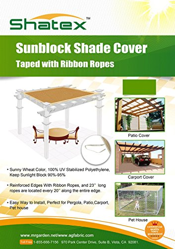 Shatex 90% UV Block Sunscreen Panel, Patio Cover, Taped Edge with Tie-down Rope,12ftx20ft (Patio Screen Panels)