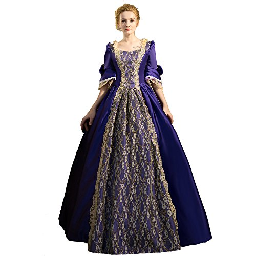 17 Century Costumes (XNAIHUAFEI Women's 17th Century Purple Party Dress Costumes Size US 16W)