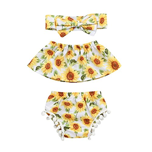 a0ab07efa3c Galleon - 2018 Toddler Baby Girls Summer Outfits Sunflower Print Off  Shoulder Tops + Shorts + Headbands Clothes Set (White