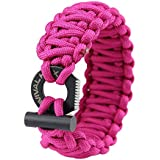 Pink Paracord Survival Bracelet with Adjustable Clasp and Fire Starter