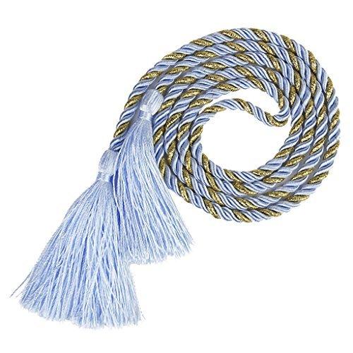 1paio di tende con fermatenda fermatende nappa corda decorazione soggiorno camera da letto 135cm (Blue + Golden) BeautyLife