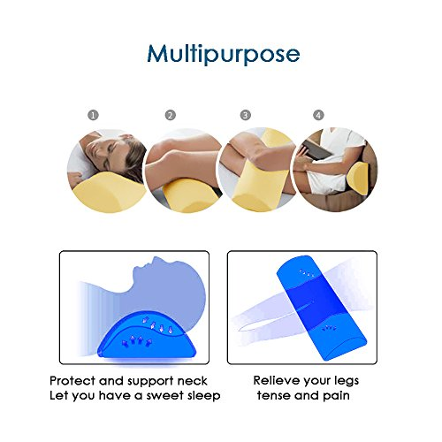 Memory Foam Bolster Pillows for Sleeping, Neck, Sciatica, Pregnancy, Legs, Knees Pain Relief Low Back Support for Office Chairs and Car Seats Semi Roll Pillow with Adjustable strap and Washable Cover by Qutool (Image #6)
