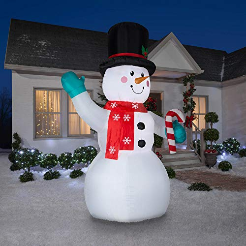 Gemmy 10' Inflatable LED Indoor/Outdoor Snowman with Scarf and Candy Cane New