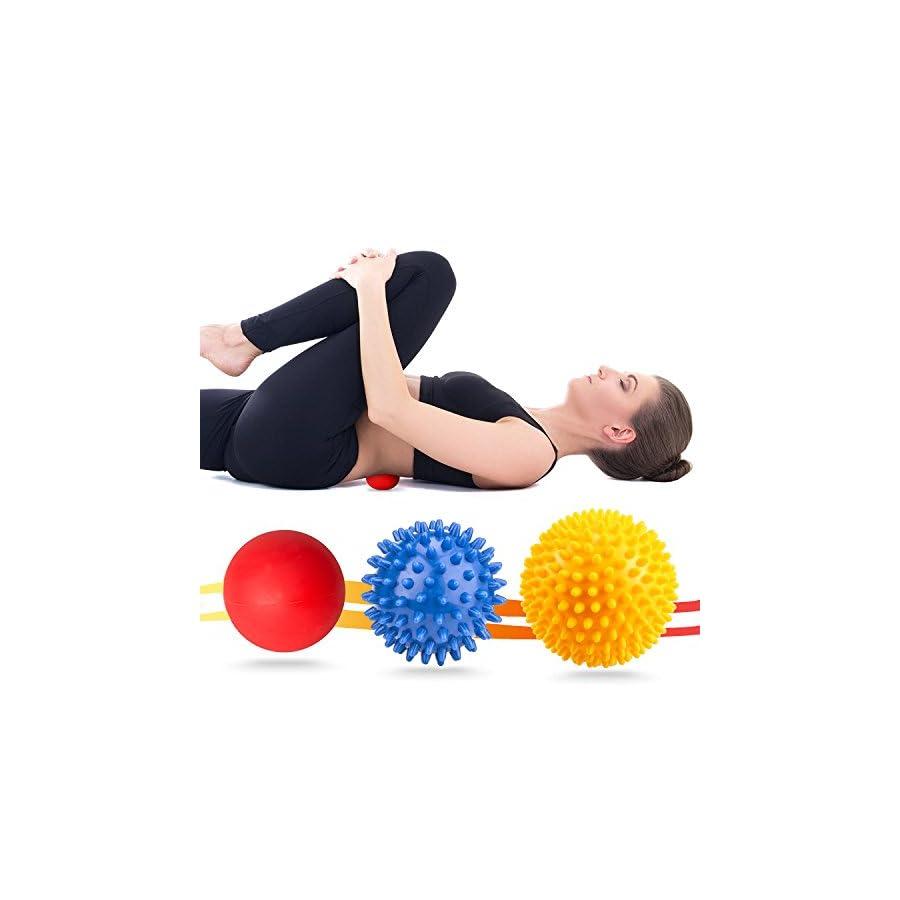 VANWALK Spiky Massage Ball and Lacrosse Balls 3 Pack Foot/ Back/Neck/Hand Tissue Massage and Yoga Massager Tools Improve Reflexology, Myofascial Release, Plantar Fasciitis Pain Relief