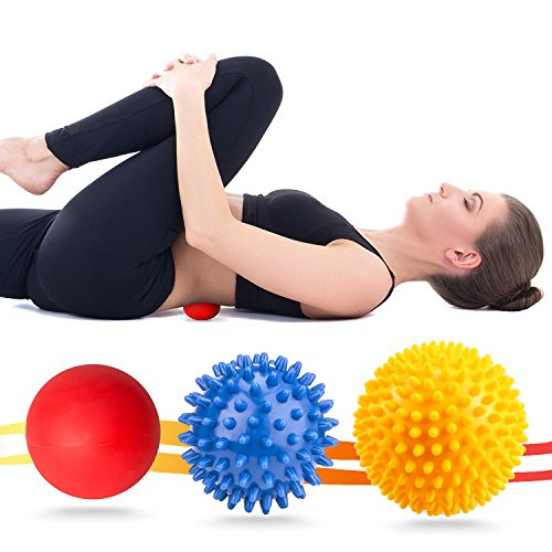 VANWALK Spiky Massage Ball and Lacrosse Balls 3 Pack Foot/ Back/Neck/Hand Tissue Massage and Yoga Massager Tools Improve Reflexology, Myofascial Release, Plantar Fasciitis Pain Relief