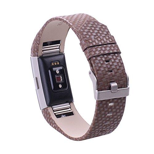 Bracelet de remplacement, en cuir et métal, pour Fitbit Charge 2