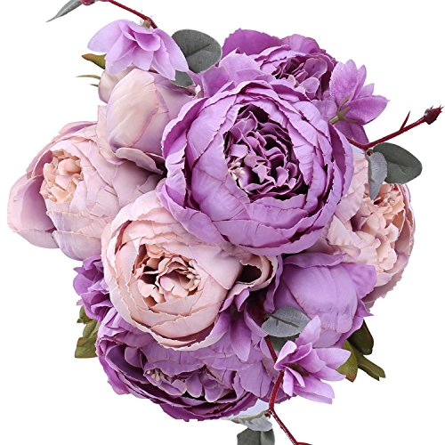 StarLifey Bridal Wedding Peony Silk Bouquet for Home&Wedding Centerpieces Décor and DIY (New Purple)