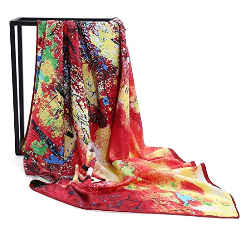 - WENNEW Oil Painting Small House Twill Silk Scarf Ladies Occupation Big Foursquare Towel (Color : Orange red, Size : 100100)