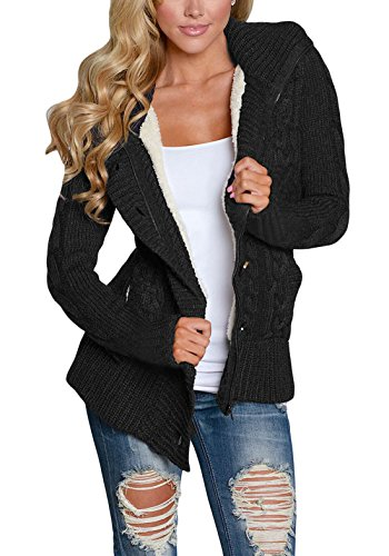 Asvivid Womens Hooded Cable Knit Button Down Loose Sweater Cardigans Coats Jacket Outwear with Pockets S Black
