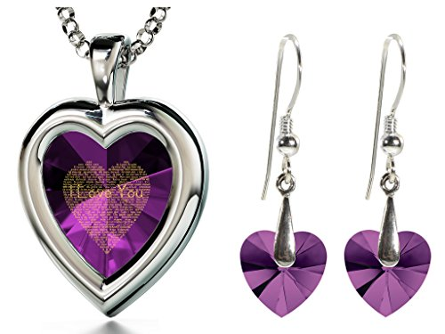 925 Silver Purple Heart Jewelry Set I Love You Necklace 120 Languages CZ Inscribed and Crystal Earrings ()