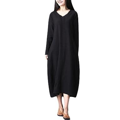 d8327aa004b81 ワンピース E-Bears レディース 大きいサイズ 長袖 ふんわり コクーンスカート 細い 縞柄 綿麻 V