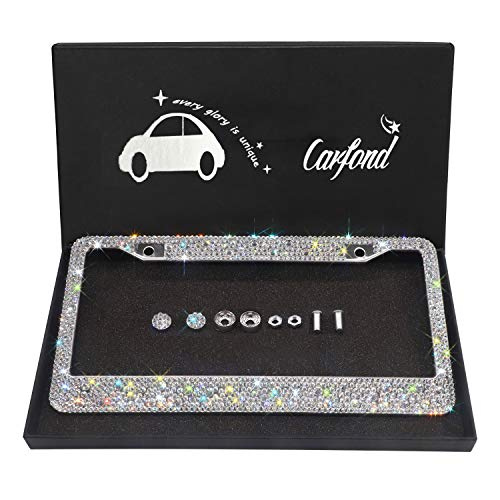 Carfond 7 Row Handcrafted 1000+ pcs Finest 14 Facets SS20 Premium Glass Crystal Diamond Stainless Steel License Plate Frame 2 Holes Bonus Matching Screws Caps (Drop Crystal)