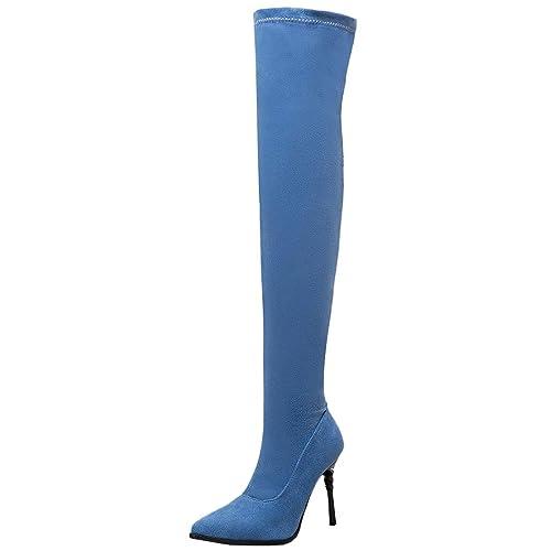 Artfaerie Damen Overknee Jeans Stiefel High Heels mit Spitze und Stiletto  Slip on Stretch Long Boots 1b8e3dc7a5