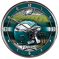 OKSLO Philadelphia Eagles Round Chrome Wall Clock