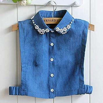 73177cba565 Women Lapel Peter Pan Sweater Shirt Tie Collar Rhinestone Crystal Bead Faux  Detachable False Denim Jeans