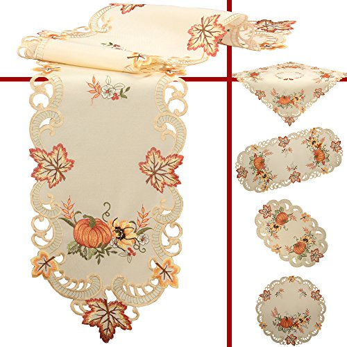 Quinnyshop Pumpkin and Sunflower Embroidery Table overlay 34-inch-by-34-inch/ 85 x 85 cm Polyester, Cream