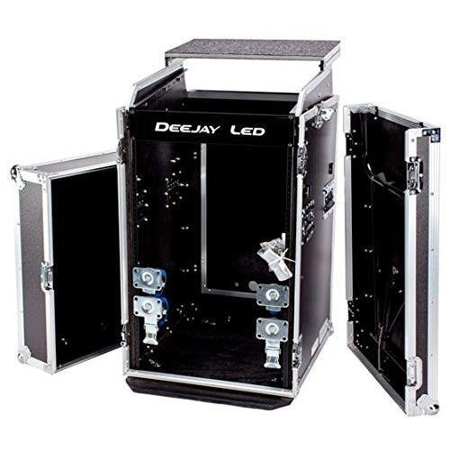 Deejay LED 11U Space Universal Slant Mixer Rack/16U Space Vertical Rack System with Caster Board, Table and Laptop Shelf