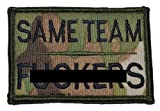 2 inch by 3 inch wide Same Team F**kers hat patch with velcro-compatible hook backing. Camo patterns will vary. Available in multiple solid and camoflauge colors.