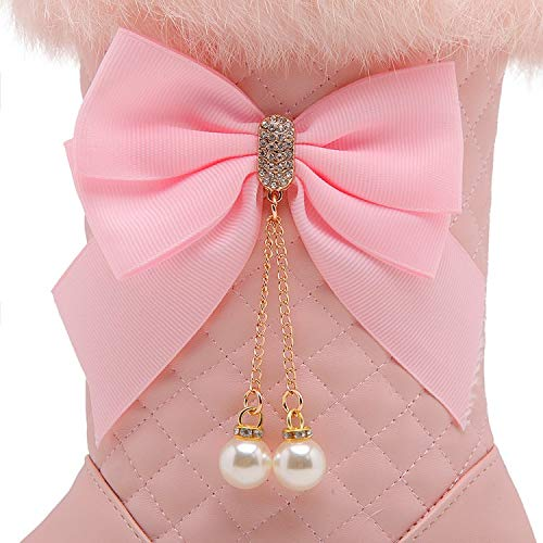 Carolbar Christmas Snow Pink Womens Bows Sweet Boots qq7wfABzx