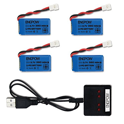 3.7V 380mah Lipo Battery with X4 Battery Charger for Controller of Drone HS230 GBlife Bounce Car TOZO Q2020 Hubsan X4 H107C H107L H107D H107P H108 Holy Stone HS170G HS170 HS170C Protocol Dronium One