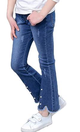 Amazon.com: Pantalones vaqueros desgarrados para niña ...