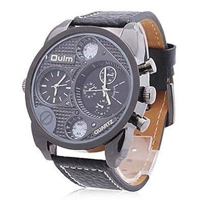 Tzou France Army watch Multi-Function Dual Movt Quartz Men's Wrist Watch Leather Watchband