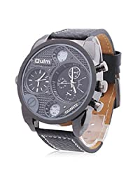 France Army watch Multi-Function Dual Movt Quartz Men's Wrist Watch Leather Watchband
