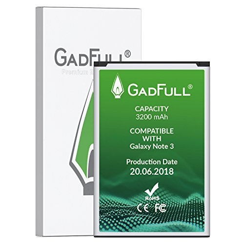 GadFull Battery for Samsung Galaxy Note 3 | Production date 2018 | Corresponds to the original EB-B800BE | Smartphone model GT-N9000 | GT-N9005 | GT-N 9006 | GT-N9009 | replacement battery by GadFull