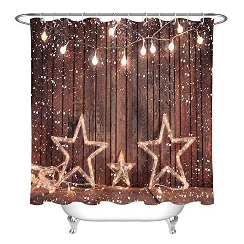 - LB Christmas Lights Star Decor Rustic Country Barn Wood Curtains for Shower Stall, Vintage Christmas Themed Shower Curtain Set, 70 x 70 Inch Shower Window Curtain Waterproof