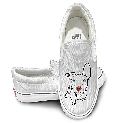 EWIED Unisex Classic Pit Bull Dog Slip-On Shoes White Size39