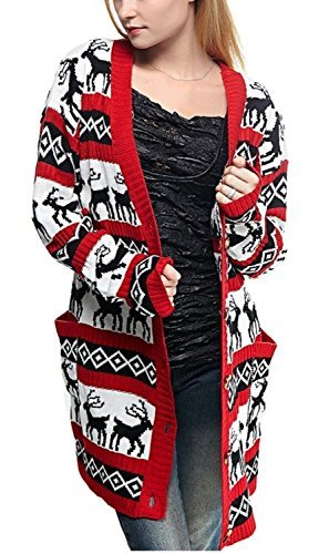 Womens Oversized Christmas Reindeer Cardigan (XX Large, Red Reindeer Cardigan)