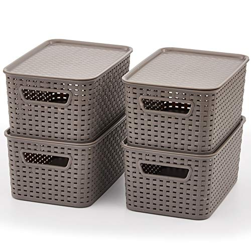EZOWare Small Gray Plastic Knit Shelf Stackable Storage Organizer Baskets with Lids Perfect for Storing Small Household Items – Pack of 4