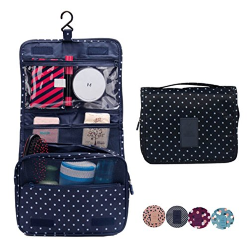 CalorMixs Hanging Toiletry Cosmetics Travel Bag Cosmetic Carry Case for Woman Man Travel Organization Gift (Navy Circle)
