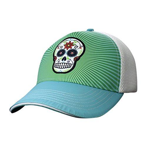 Headsweats Trucker Hat | Teal Sugar Skull
