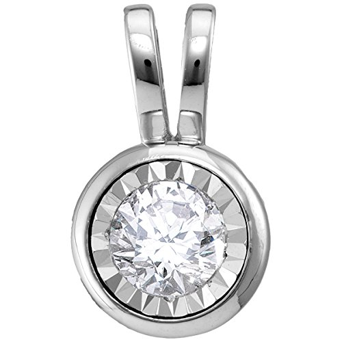 14kt White Gold Womens Round Diamond Solitaire Pendant 1/2 Cttw 14kt Bezel Solitaire Diamond Pendants