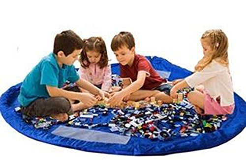 60 Inches Diameter Baby Kids Play Floor Mat Toy Storage Bag Organizer Quickly Easily Folds Up, Perfect Building Blocks & Small Toys